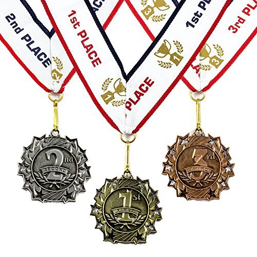 1st 2nd 3rd Place Ten Star Award Medals - 3 Piece Set (Gold, Silver, Bronze) Includes Neck Ribbon -