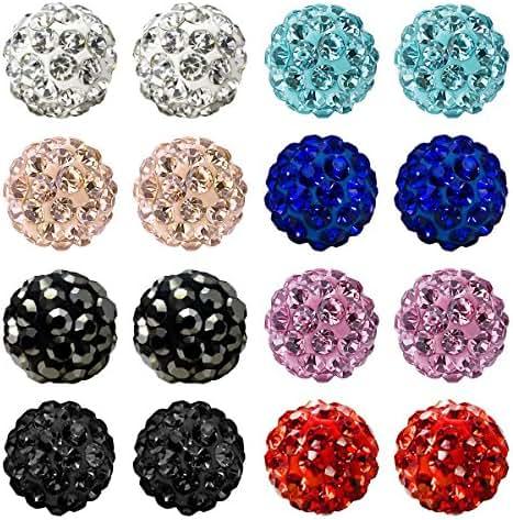 JewelrieShop Women and Girls Fashion Jewelry Rhinestones Crystal Ball Stud Earrings Set, Hypoallergenic, Great Gifts Idea