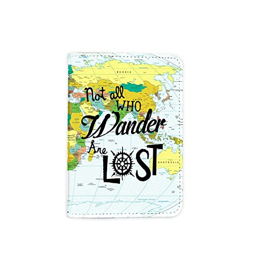 Amazon not all who wander are lost world map passport holder not all who wander are lost world map passport holder novelty leather passport cover gumiabroncs Images