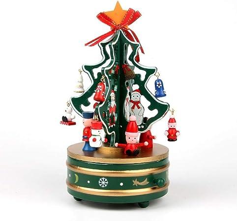 ZWH-Árbol de Navidad Tablero de la Mesa de Madera de árbol de Navidad, árbol de Navidad Giratorio de la Caja de música con Mini Adornos Perfecta for Unas Vacaciones Oficina Tienda Regalos: