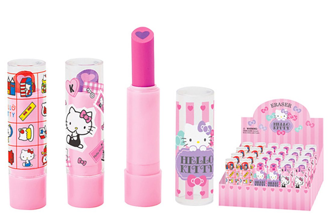 Hello Kitty Sanrio New Spectacular Colorful Lip Balm Shaped Eraser Set of 3 Different designs