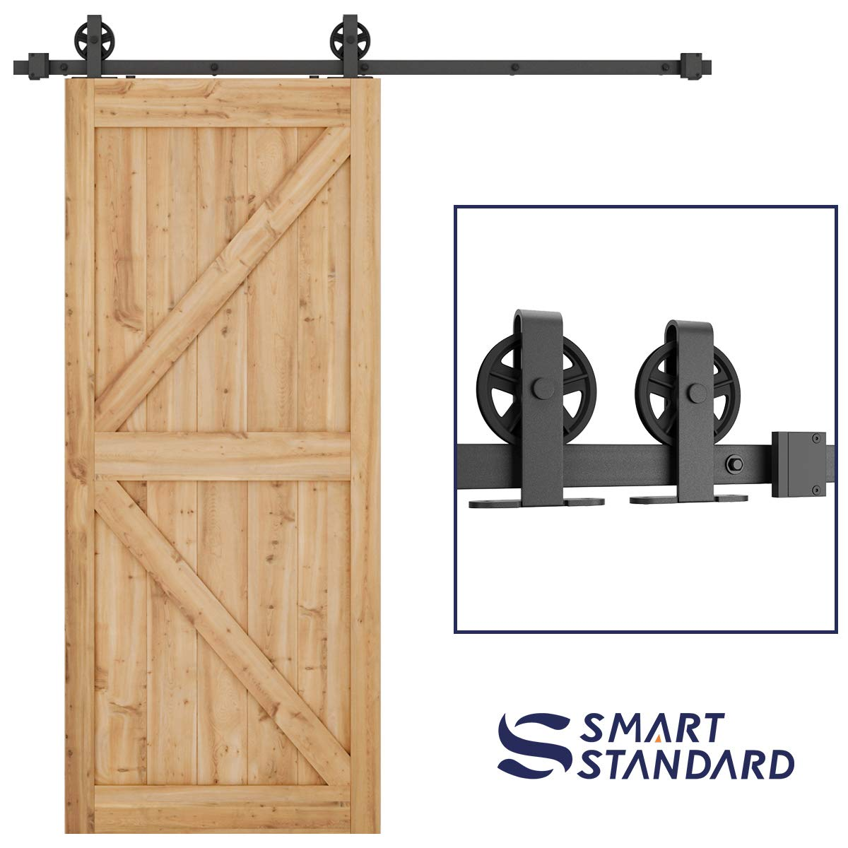 SMARTSTANDARD 6.6ft Heavy Duty Sturdy Sliding Barn Door Hardware Kit -Smoothly & Quietly-Easy to install-Includes Step-By-Step Installation Instruction Fit 40'' Wide Door Panel(Bigwheel T Shape Hanger)