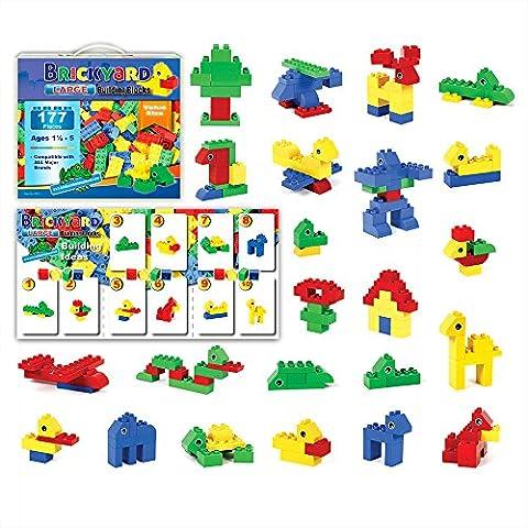 [177 Pieces] Compatible Large Building Block Toys by Brickyard, For Children Ages 1.5 - 5, Fits Duplo Blocks - Bulk Block (Duplicate Plate)