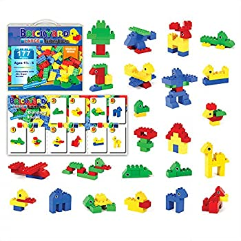 [177 Pieces] Compatible Large Building Block Toys by Brickyard, For Children Ages 1.5 - 5, Fits Duplo Blocks - Bulk Block Set