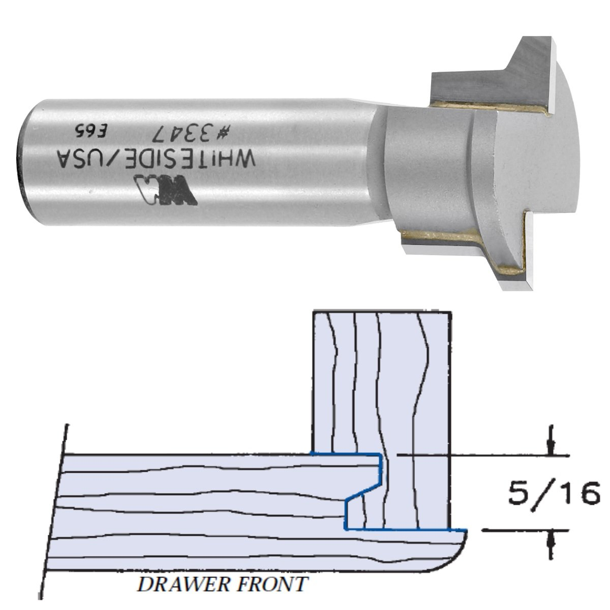 Whiteside Router Bits 3347 Locking Drawer Glue Joint Bit with 1-Inch Large Diameter 1/2-Inch Cutting Length