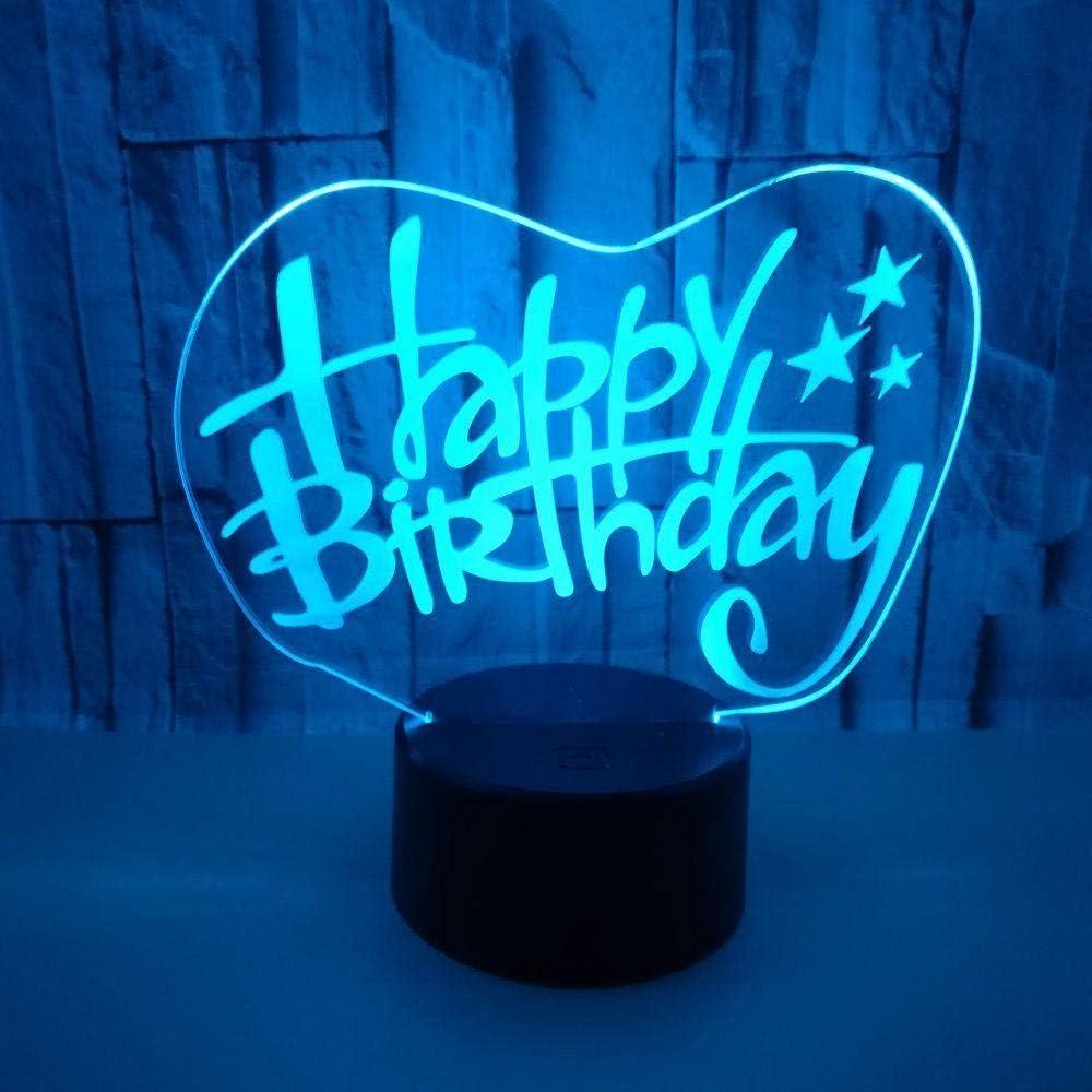 DMSTYLE® Luces 3D personalizadas de feliz cumpleaños Luces de ...