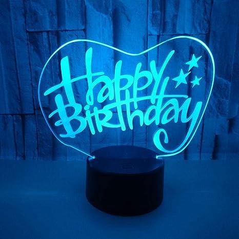 DMSTYLE® Luces 3D personalizadas de feliz cumpleaños Luces ...