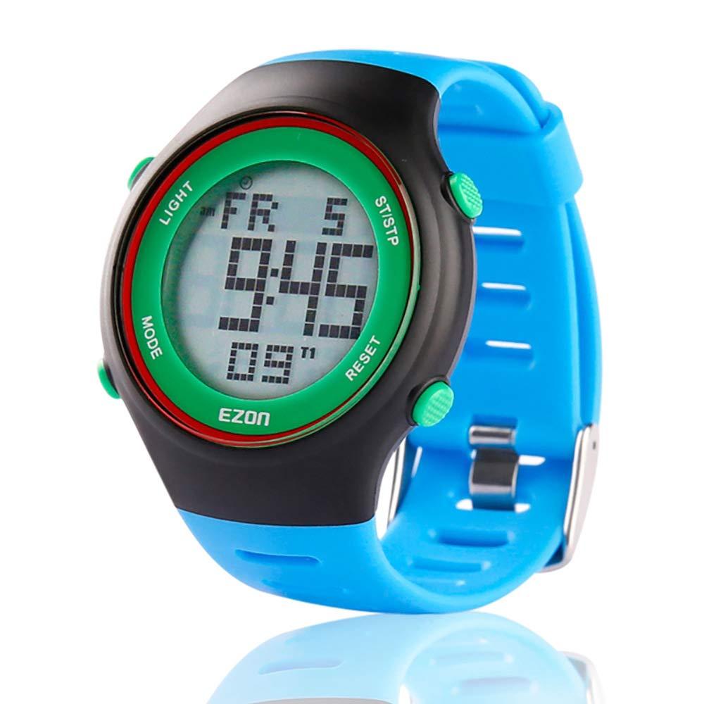 EZON Reloj Deportivo Digital al Aire Libre cronómetro Corriendo con Impermeable, Alarma, Calendario, Temporizador de Cuenta Regresiva, luz de Fondo, Negro L008
