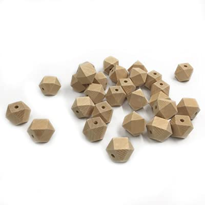 Amyster 500pcs Baby Teether Toys 0.47inch(12mm) Wooden Geometric Hexagon Beads Nursing Chewing Wooden Teether for Baby Teether Necklaces/Bracelets (500pcs) : Baby