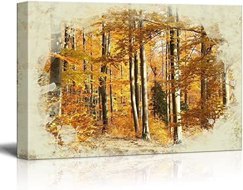 Print Landscape Autumn Scenery in The Beech Forest on a Sunny October Morning