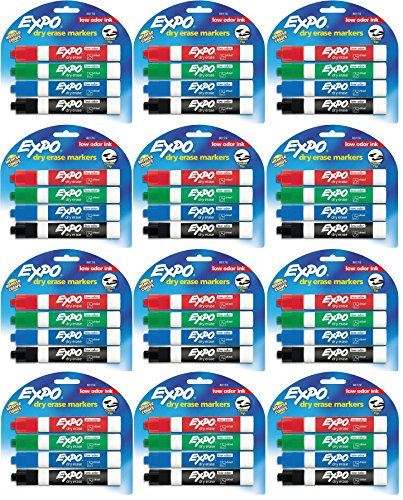 Expo 80174 Low Odor Chisel Point Dry Erase Marker Pack, Designed for Whiteboards, Glass and Most Non-Porous Surfaces, 4 Assorted Color Markers, Pack of 12 Blisters (12 Blister Packs)