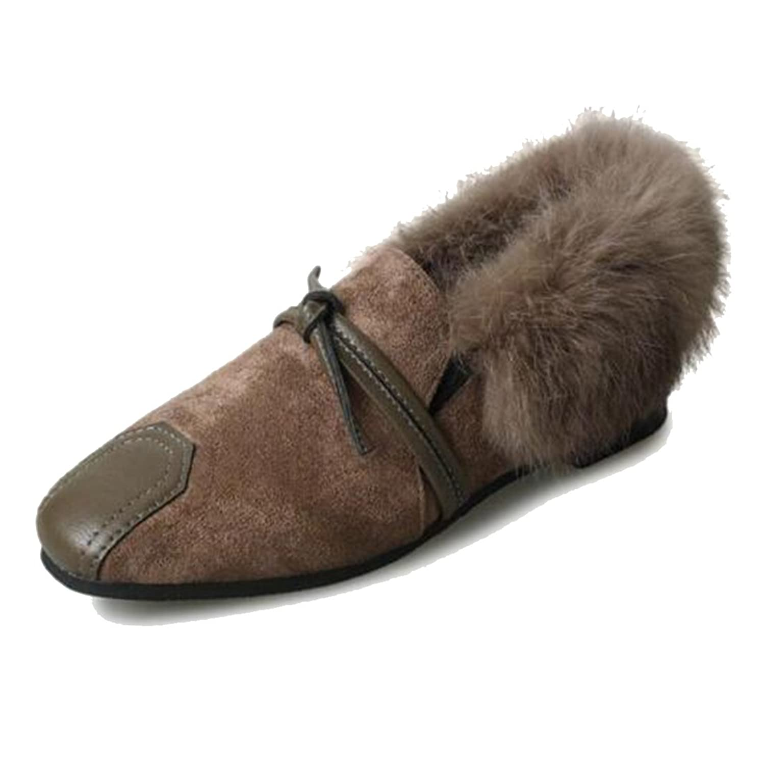 COVOYYAR Women's Fluzzy Loafers Solid Autumn Winter Flats Fur Lined Casual Shoes