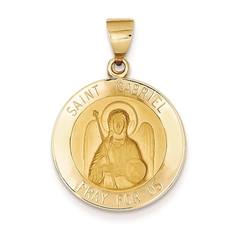 14K Yellow Gold Saint Gabriel Round Medal Charm Pendant