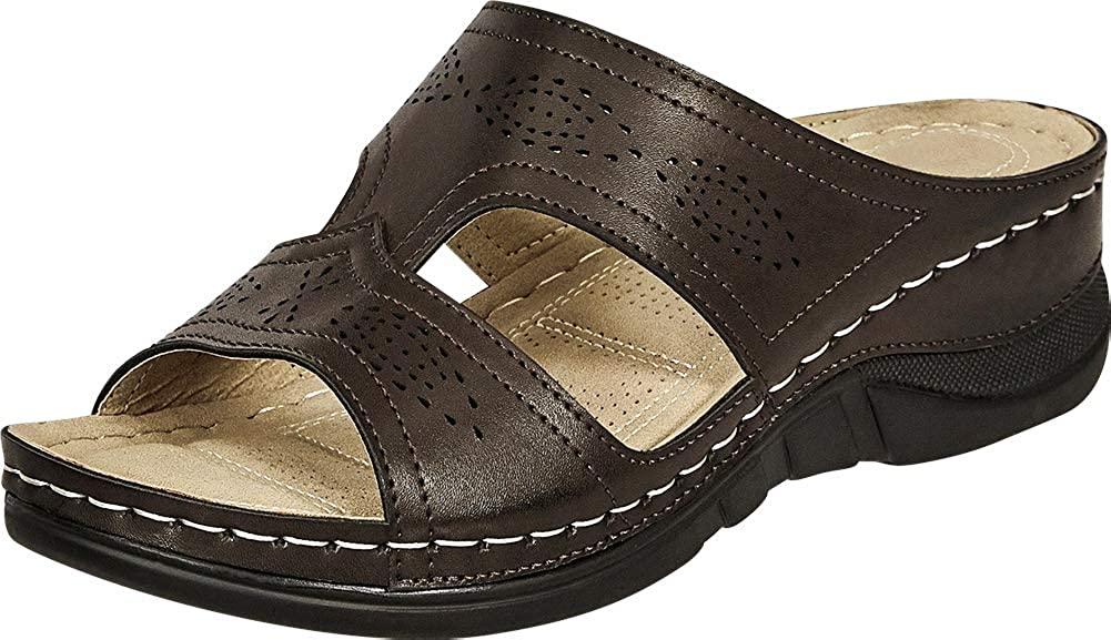 Brown Pu Cambridge Select Women's Open Toe Perforated Side Cutout Comfort Low Wedge Slide Sandal