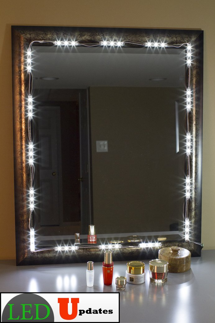diy lighted vanity mirror. Amazon com  MAKE UP MIRROR LED LIGHT FOR VANITY with dimmer and UL power supply eco series Musical Instruments