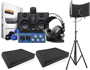 PreSonus AudioBox Studio Ultimate Bundle Complete Hardware/Software Recording Kit w/AxcessAbles Isolation Shield and Speaker Foam Pads. For Bluetooth wireless audio, Home Studio, Podcast.