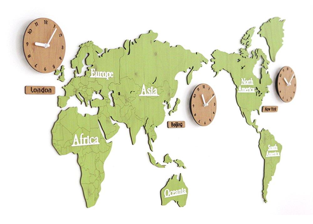 GREEM MARKET(グリームマーケット) 壁掛け時計 掛け時計 ウォール クロック 世界 時計 世界地図 おしゃれ インテリア 北欧 ウッド DIY 品番:GMS01291(グリーン/ナチュラル) B077NV67VC グリーン/ナチュラル グリーン/ナチュラル