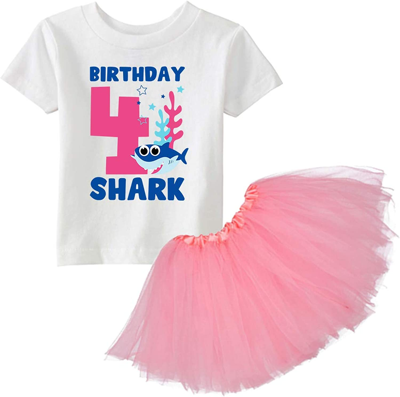 Awkward Styles 4th Birthday Shirt Tutu Skirt Set Fourth B-Day Girl Funny Shark Ballet Outfit