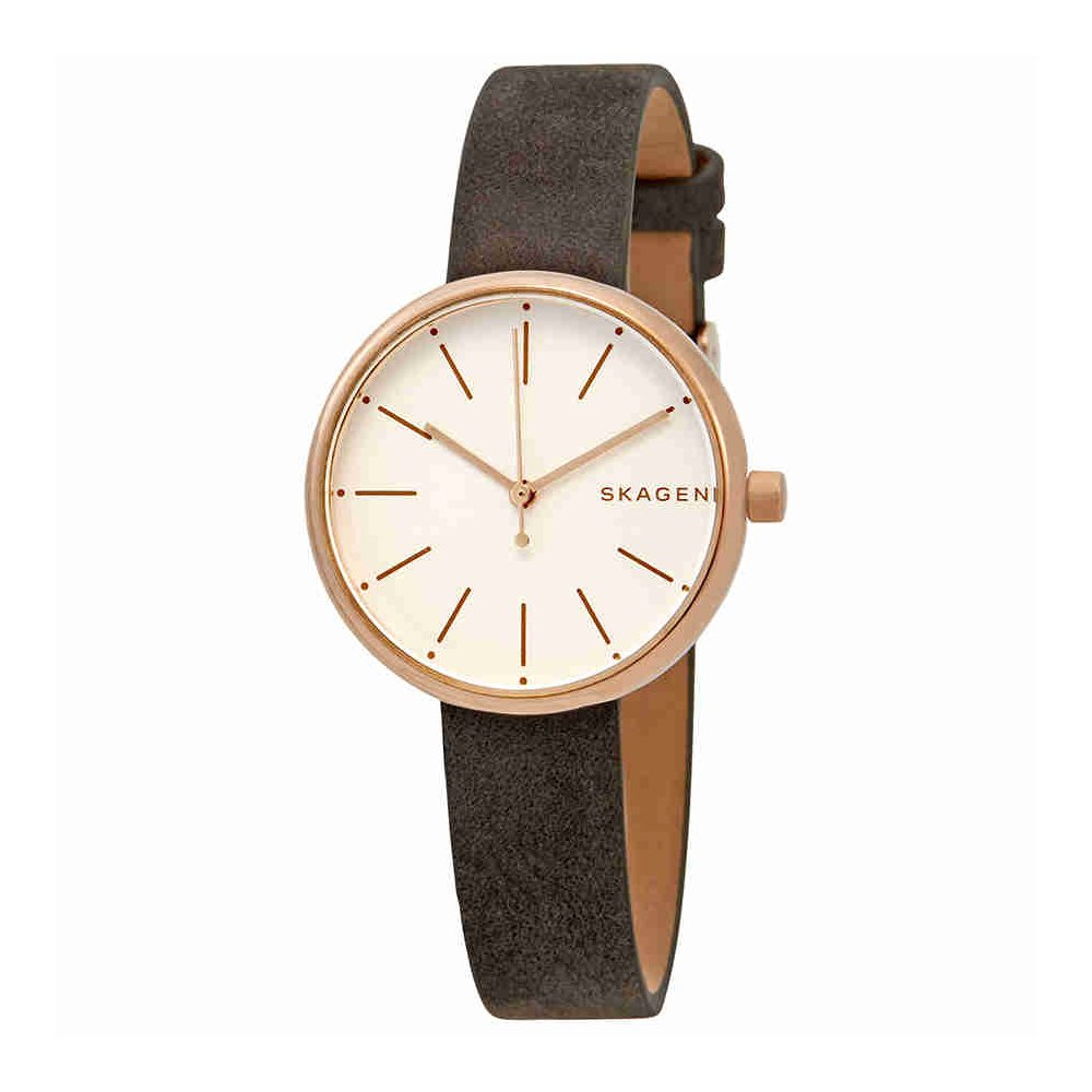 Skagen Women's 'Signatur' Quartz Stainless Steel and Leather Casual Watch, Color:Grey (Model: SKW2644)