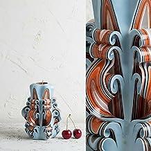 Hand Carved Candle - Handmade Blue Sky Orange Gentle Colors - Wedding Centerpiece Decor - EveCandles