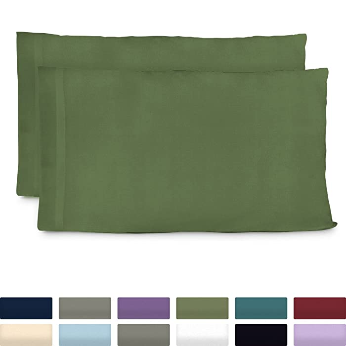Cosy House Collection Luxury Bamboo Standard Size Pillowcases - Sage Green Pillowcase Set of 2 - Ultra Soft & Cool Hypoallergenic Natural Bamboo Blend Cover - Resists Stains, Wrinkles, Dust Mites