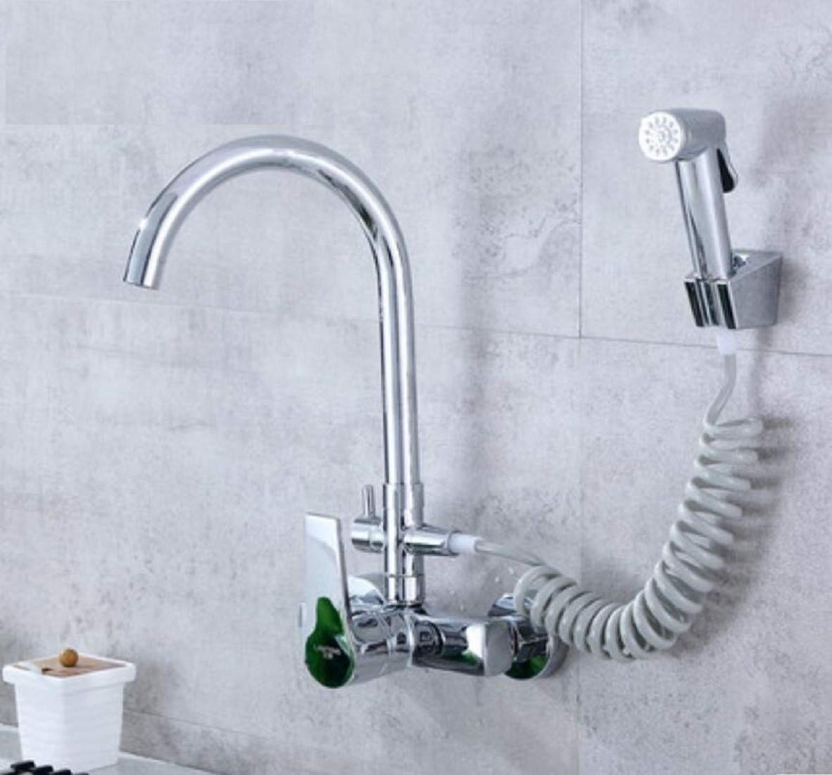 Kitchen Faucet Single Double Hole Into The Wall Type Kitchen Multi-Purpose Spray Gun Laundry Basin Sink Cold And Hot Faucet Kitchen Sink Faucets Basin Mixer Faucet