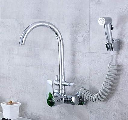 Kitchen Faucet Single Double Hole Into The Wall Type Kitchen Multi-Purpose  Spray Gun Laundry Basin Sink Cold And Hot Faucet Kitchen Sink Faucets Basin  ...