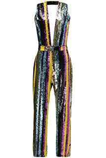 38d3231e024 Ussuperstar Women s Rainbow Sequin V-Neck Jumpsuit Sleeveless Striped  Rompers Clubwear