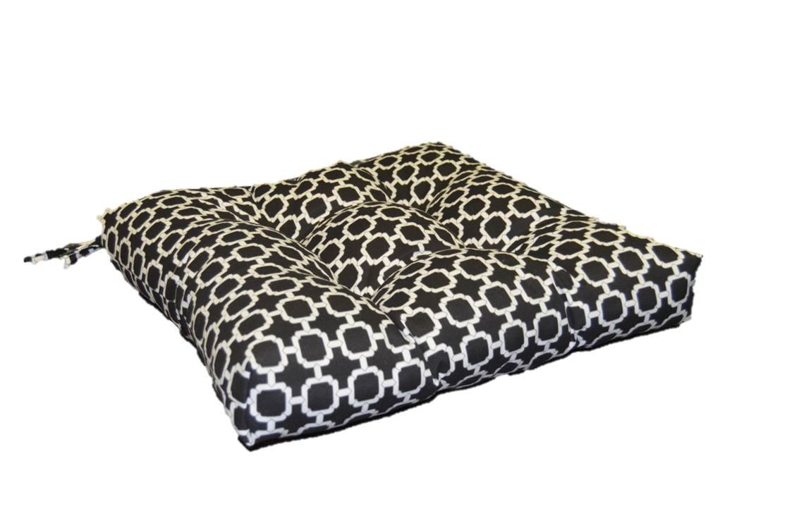 Resort Spa Home Decor Indoor Outdoor Black White Geometric Hockley Print Universal Tufted Seat Cushion with Ties for Dining Patio Chair – Choose Size 17 x 15