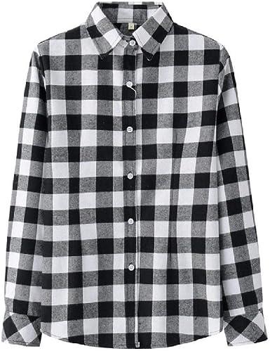 NOBRAND - Blusa de manga larga para mujer, estilo casual, talla grande, a cuadros, camisas de franela para mujer: Amazon.es: Ropa y accesorios
