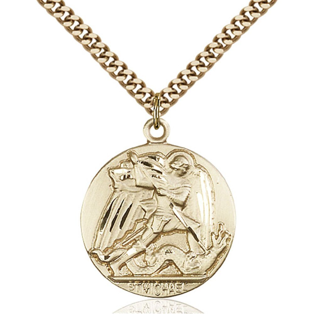 Gold Filled St. Michael the Archangel Pendant 1 x 7/8 inches with Heavy Curb Chain by Bonyak Jewelry Saint Medal Collection