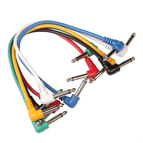 Tenflyer 6PCS guitarra pedal de efectos Patch Cable ángulo recto Multicolor
