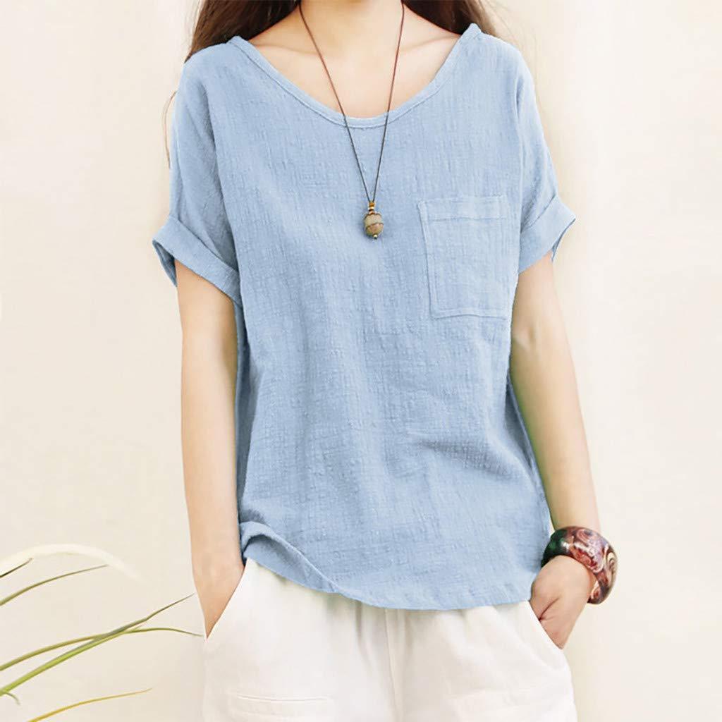 Luckycat Camisetas Mangas Corta Mujer Camisa De Lino Top Casual De Mujer Blusa Suelta Solida Mujer Manga Corta Camiseta Ropa Casual De Mujer Blusas ...