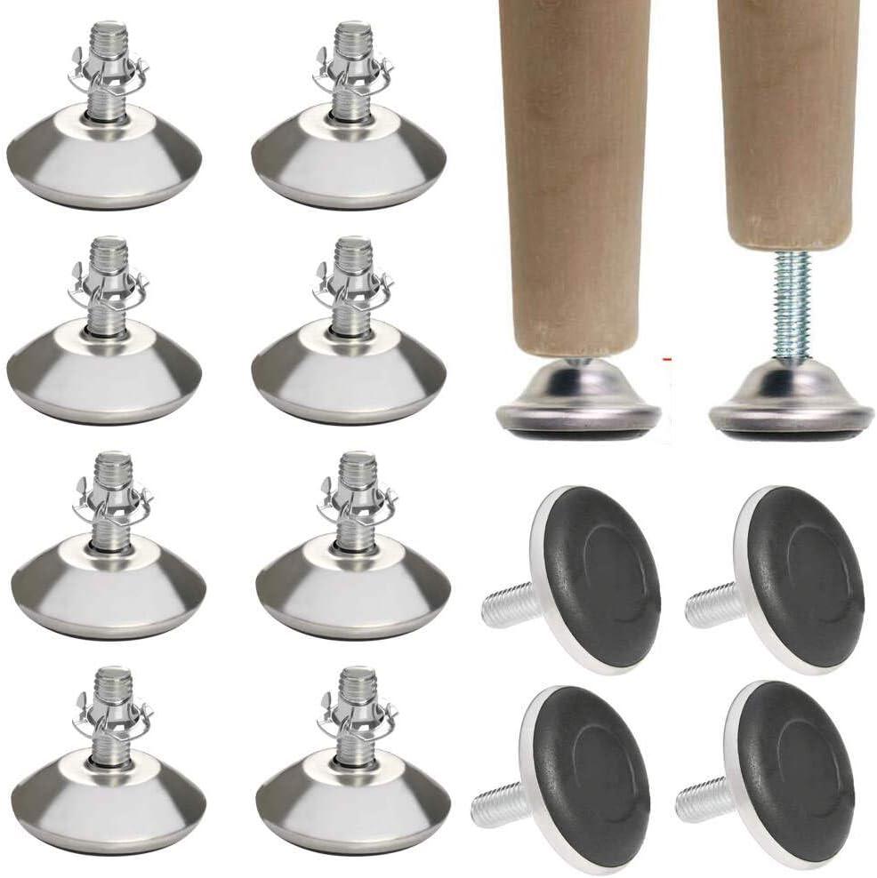 Pieds de Meuble Ajustables Vis de R/églage pour Meuble Uni-Fine 12Pcs Pied V/érin pour Meuble Pied Reglable pour Meuble avec boulon de suspension M8