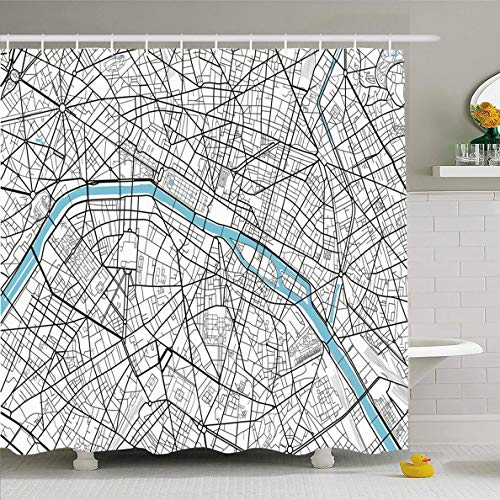 Ahawoso Shower Curtain 72 x 72 Inches Vintage Black White City Map Paris Artistic Abstract Arc Triomphe Cartography Drawing Design Line Waterproof Polyester Fabric Bathroom Set with Hooks