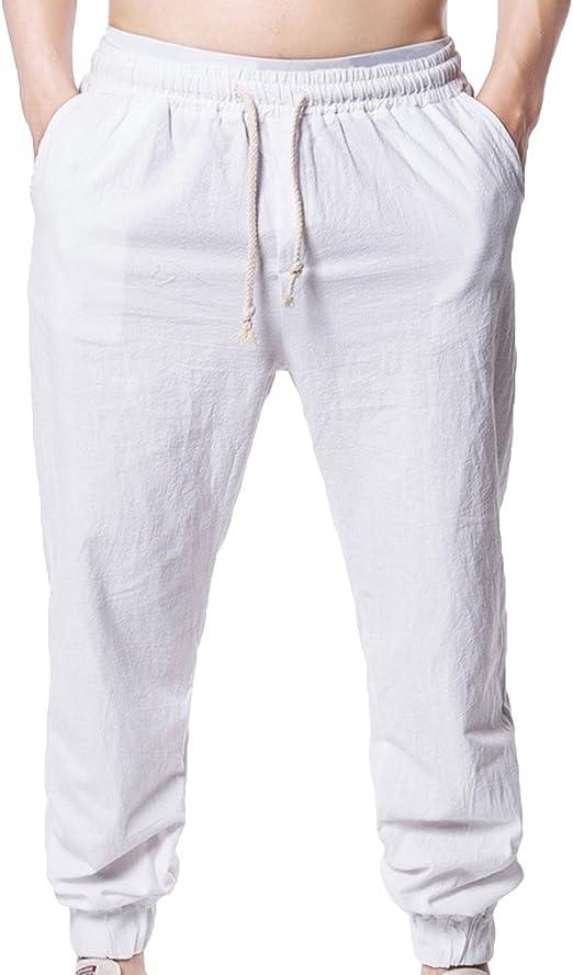 junkai Pantalones Harem De Lino De Algodón para Hombres ...