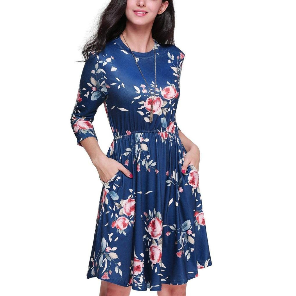 YunZyun Women'S Large Size Solid Color Short-Sleeved Dress Large Size Evening Dress Loose Dress by YunZyun