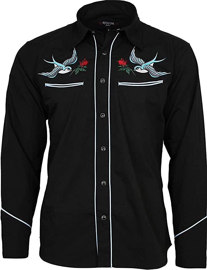 1950s Mens Shirts | Retro Bowling Shirts, Vintage Hawaiian Shirts Relco Exclusive Tattoo Rockabilly Western Cowboy Swallow Rose Embroidered Shirt £39.99 AT vintagedancer.com