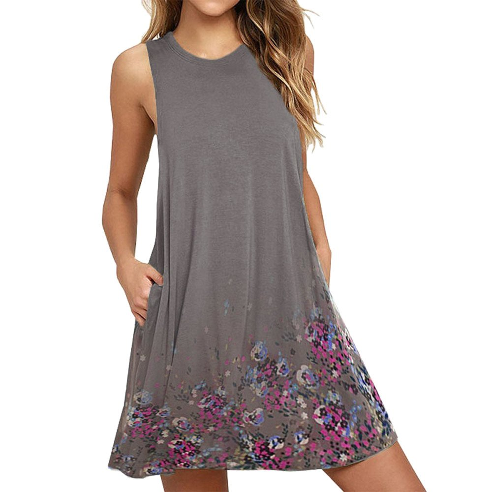 Sumeimiya Lace Dress for Women, Ladies Solid Sleeveless O Neck Dress Casual Loose Dress with Pocket Gray