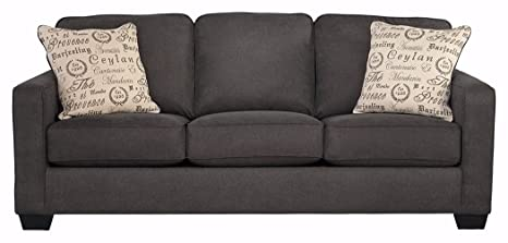 Super Signature Design By Ashley Alenya Microfiber Upholstery Sofa W 2 Throw Pillows Charcoal Pabps2019 Chair Design Images Pabps2019Com