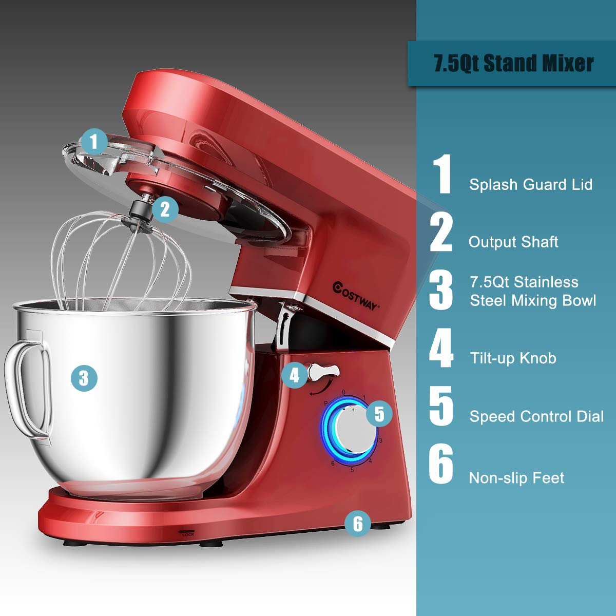 COSTWAY Stand Mixer, 660W Tilt-head Electric Kitchen Food Mixer with 6-Speed Control, 7.5-Quart Stainless Steel Bowl, Dough Hook, Beater, Whisk (Red-update) by COSTWAY (Image #5)