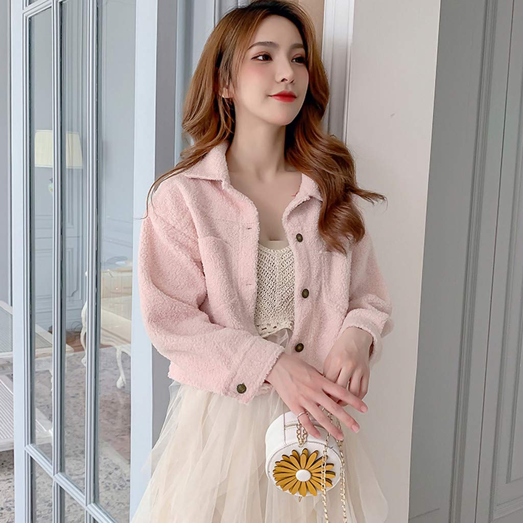 Yemenger Womens Solid Color Shaggy Short Faux Fur Coat Long Sleeve Luxury Pink Winter Parka Outwear