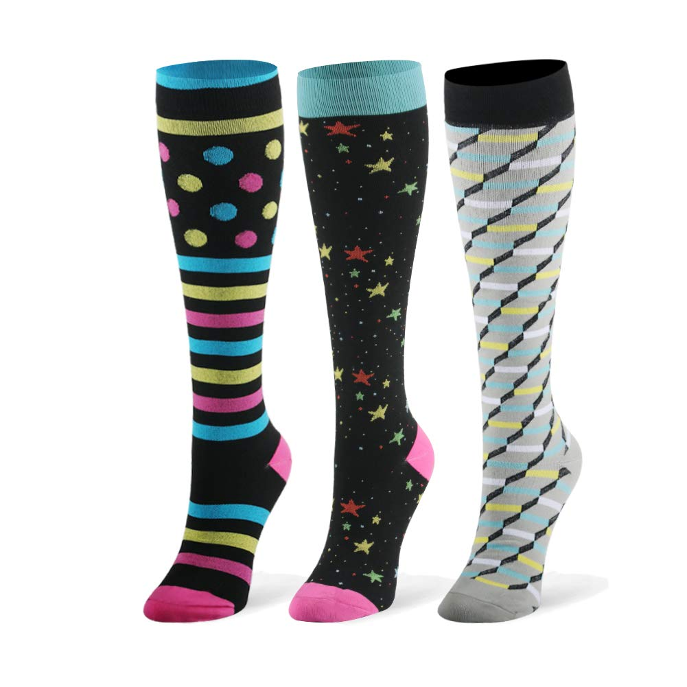 Compression Socks for Men & Women - 20-30mmHg 2 to 6 Pairs Compression Stockings for Runners, Edema (Small/Medium, Assort 14, 3 Pairs)