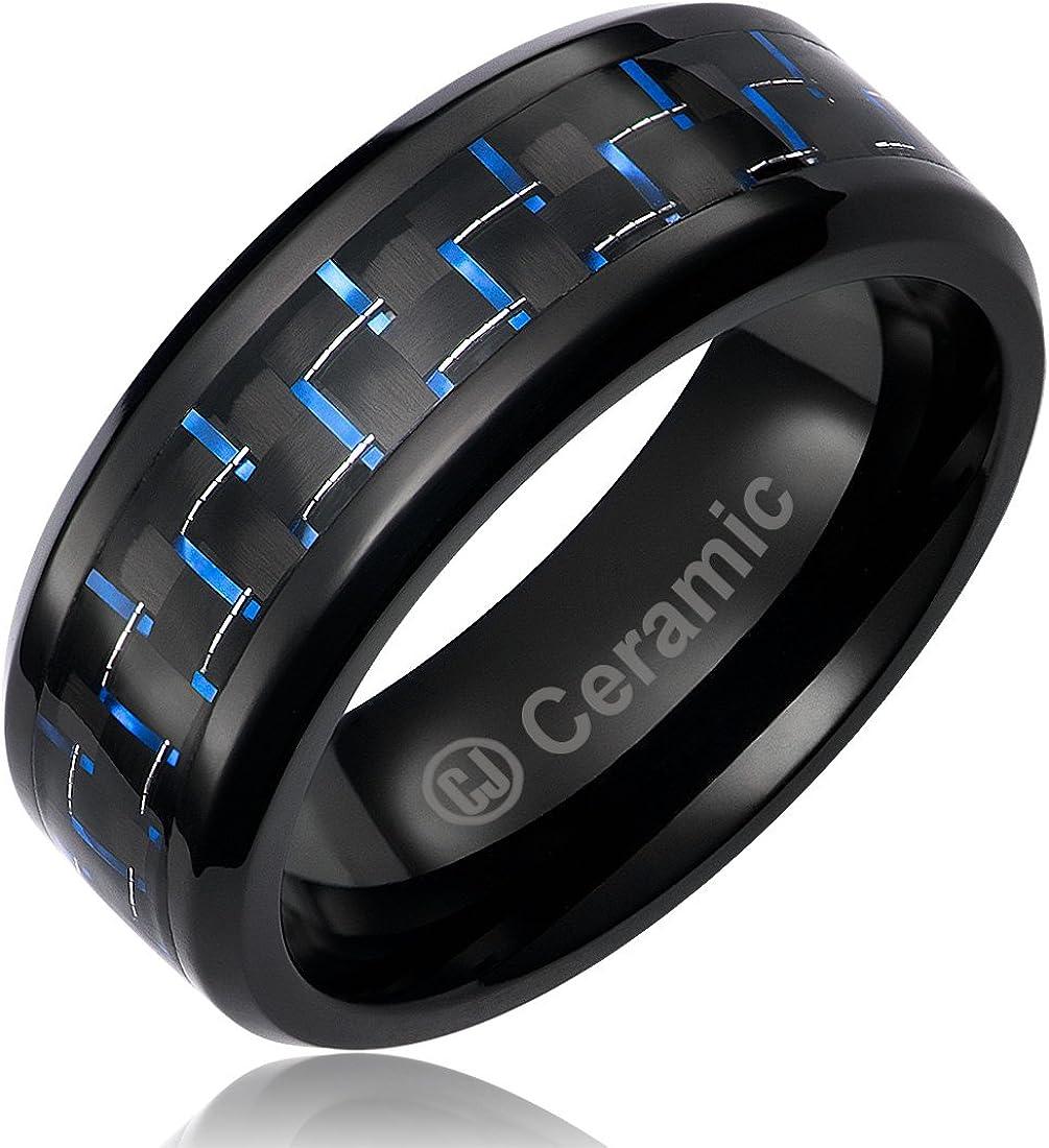 Cavalier Jewelers 8MM Jewelry Grade Black Ceramic Ring Wedding Band Black Blue Carbon Fiber Inlay
