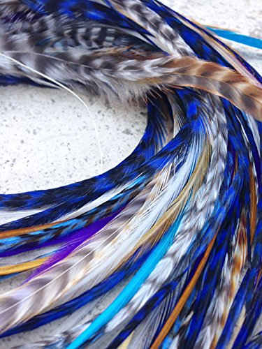UPC 659593100378, 'Exotic Feathers' 100% Genuine Boheamian Feather Extensions 13 pcs Kit. Purple,Blue, and Natural Shades