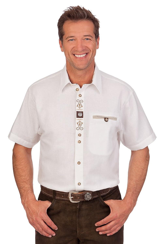H1421 - Trachten Herren Hemd mit 1/2 Arm - weiß