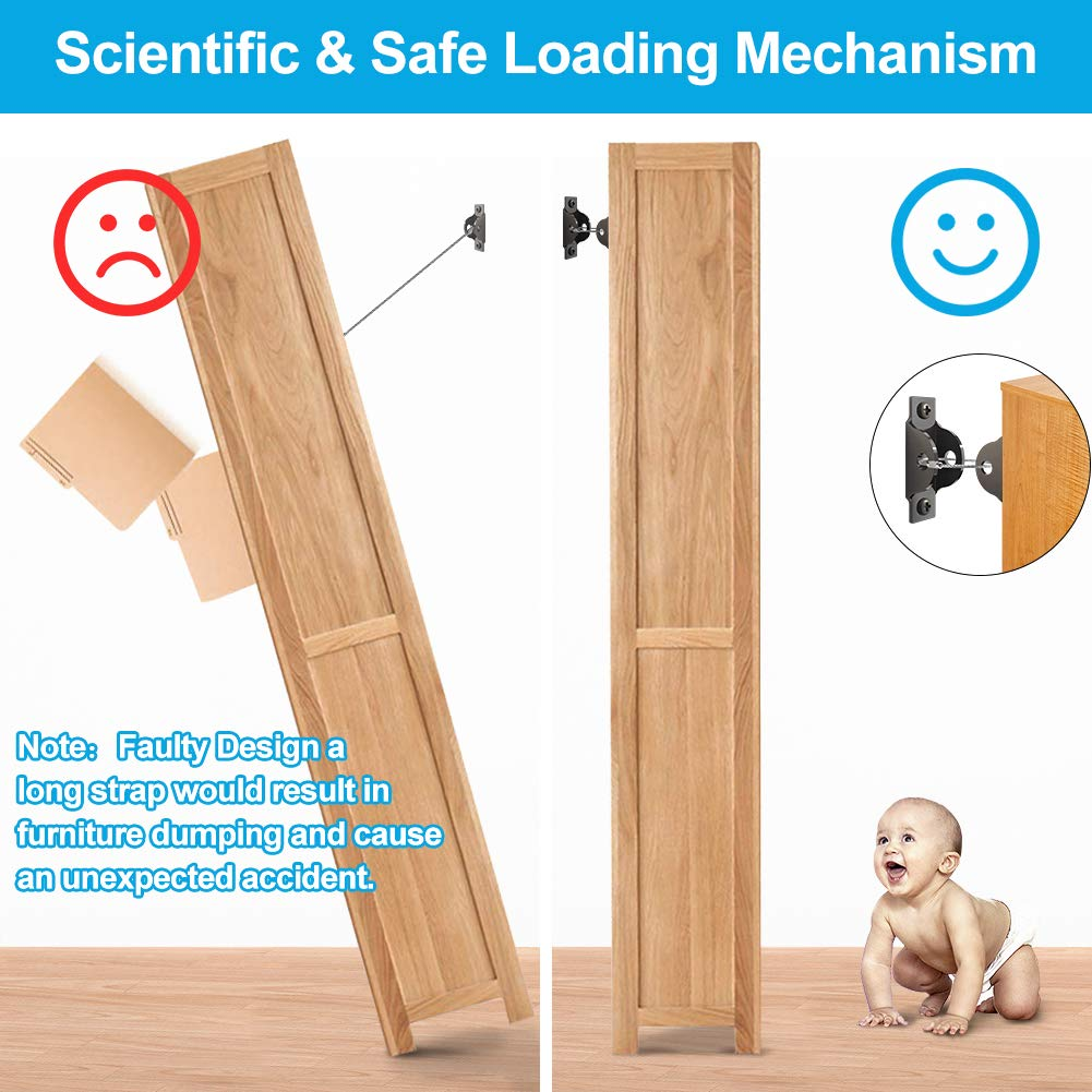 Metal Wall Anchors Anti Tip Kit Secure 400lb Falling Furniture Adjustable Protect Child Pet Safety Straps Earthquake Resistant 4 Pack with 4 Corner Protector Furniture Straps Baby Proofing Safety