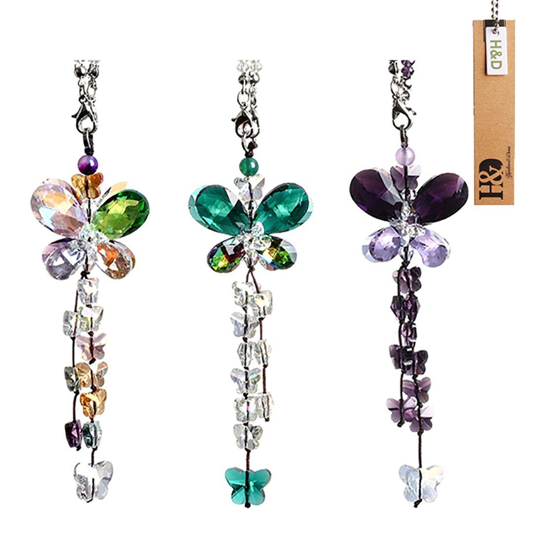 H&D, acchiappasole pendente Fengshui, con farfalle, in cristallo, effetto arcobaleno, lampadario con prisma Green