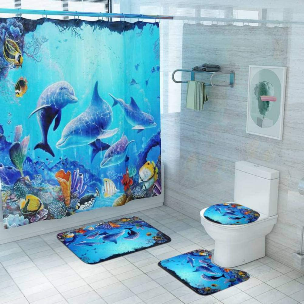 Underwater Shower Curtain Dolphins Ship Sea Print for Bathroom