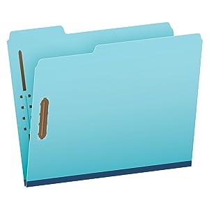 "Pendaflex Pressboard Fastener Folders, Letter Size, Light Blue, 1"" Expansion, 1/3 Cut, 25/BX (615F21-3BLU)"